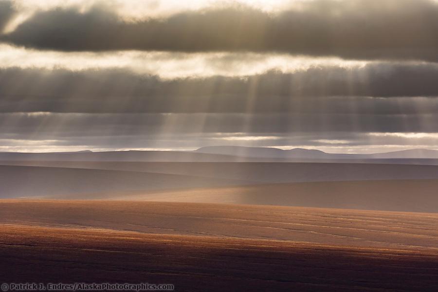 Rays of sun fall over the undulating tundra landscape of the Seward peninsula, Alaska. (Patrick J Endres / AlaskaPhotoGraphics.com)
