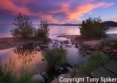 &quot;Kings Beach Sunset at Griff Creek 3&quot; - This photograph was taken at sunset where Griff Creek flows into Lake Tahoe at Secline Beach (Tony Spiker)