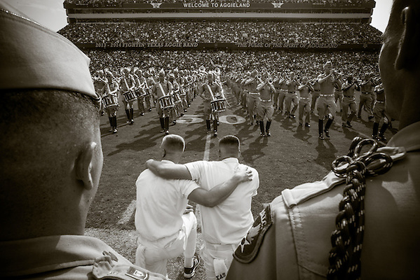 COLLEGE STATION, TX - SEPTEMBER 14: Yell leaders, cadets watch Texas A&M band at halftime, Alabama at Texas A&M, photographed at Kyle Field in College Station, Texas on September 14 2013. Photograph © 2013 Darren Carroll (Darren Carroll)