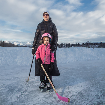 Four year old Sarah Rea with her grandmother, Kris Selman, Westchester Lagoon, Anchorage (Clark James Mishler)