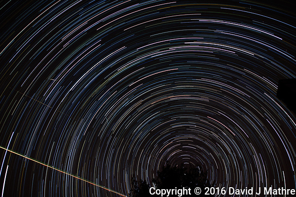 Winter Night Sky -- Star Trails -- Quadrantids Meteors. Composite of 122 images taken with a Nikon D3x and 24 mm f/1.4 lens (ISO 100, 24 mm, f/2, 59 sec) combined using the Startrails program. (David J Mathre)