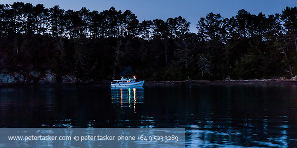 Launch, Vanessa, at anchor in Shipwreck Bay, Moturekareka Island, Hauraki Gulf, New Zealand. (Peter Tasker)