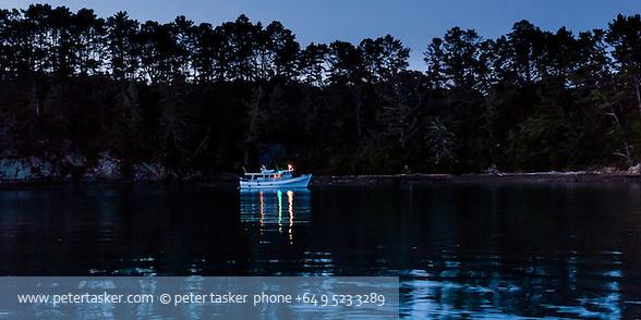 Launch, Vanessa, at anchor in Shipwreck Bay, Moturekareka Island, Hauraki Gulf, New Zealand. (Peter Tasker)