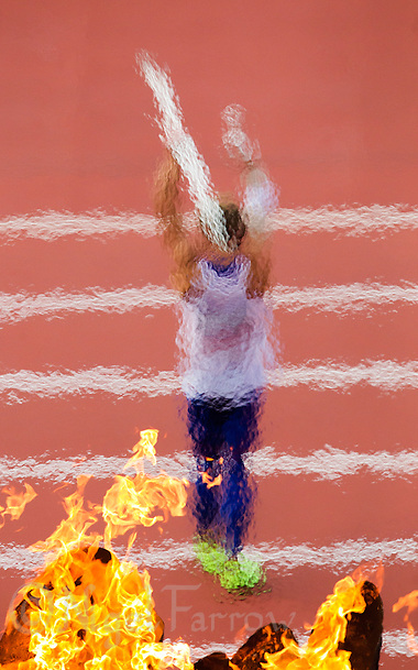 09 AUG 2012 - LONDON, GBR - Kevin Mayer (FRA) of France  prepares to throw during the javelin in the Decathlon at the London 2012 Olympic Games athletics in the Olympic Stadium at the Olympic Park in Stratford, London, Great Britain .(PHOTO (C) 2012 NIGEL FARROW) (NIGEL FARROW/(C) 2012 NIGEL FARROW)
