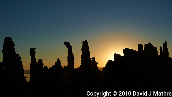 Silhouette of Mono Lake Tufa Towers at Dawn. Image taken with a Nikon D3s camera and 50 mm f/1.4 lens (ISO 200, 50 mm, f/16, 1/500 sec). (David J Mathre)
