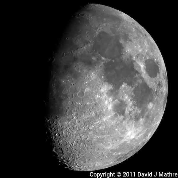 "Waxing Gibbous Moon (69%). Autumn Night in New Jersey. Image taken with a Nikon D3x and Questar 7"" telescope  (ISO 400, ~2500 mm, f/16, 1/200 sec). (David J Mathre)"