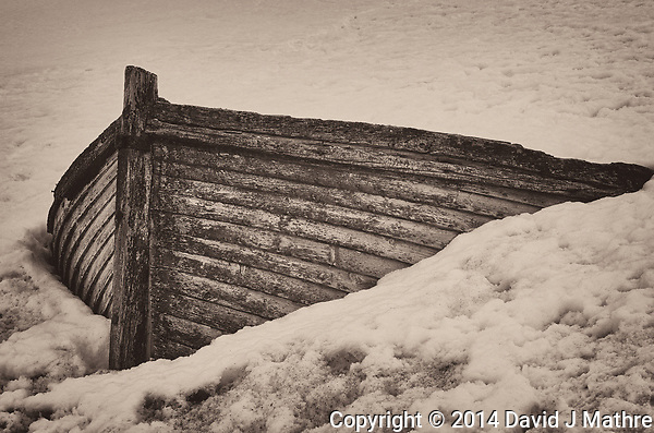 Old wooden boat stuck in the snow on Half Moon Island in the South Shetland Islands (north of the Antarctic Peninsula). Image taken with a Leica T camera and 18-56 mm lens (ISO 100, 56 mm, f/16, 1/100 sec). Raw image processed with Capture One Pro 8, Focus Magic, and Photoshop CC 2014. (David J Mathre)