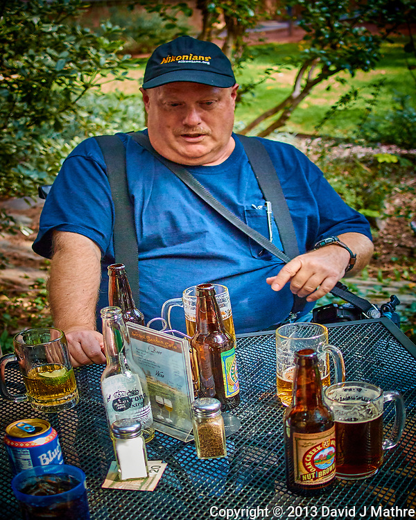 Kavanaugh Supporter Having a Beer. Image taken with a Nikon 1 V2 camera and 18.5 mm f/2 lens (David J Mathre)