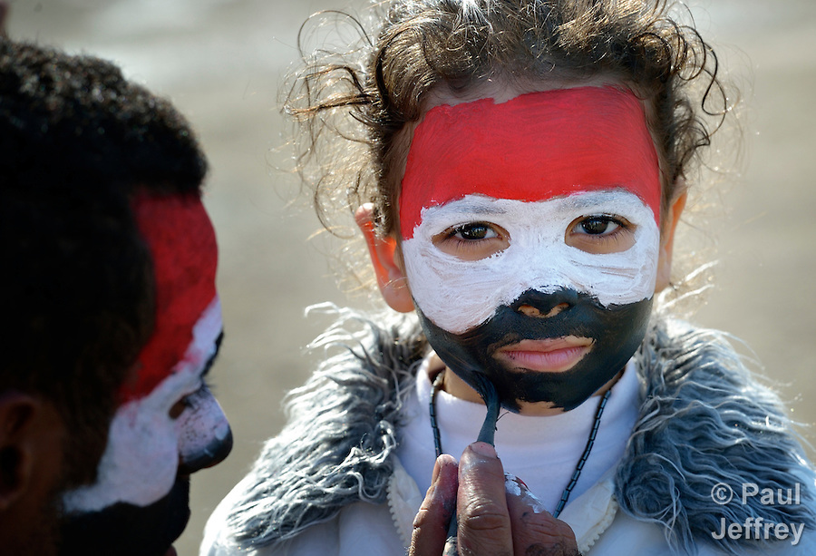 An Egyptian girl gets her face painted like her country's flag in Cairo's Tahrir Square, where protests rage against President Mohamed Morsi's expansion of executive powers.