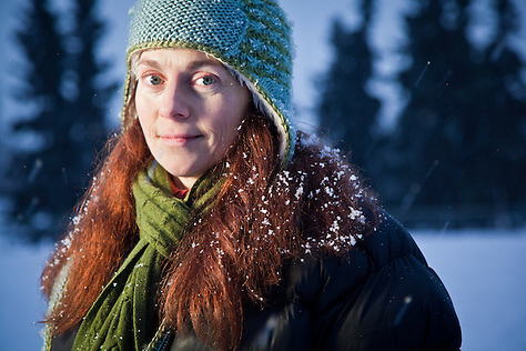 Writer, Cynthia Monroe, at Valley of the Moon Park, Anchorage. (Clark James Mishler)
