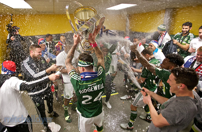 Dec 6, 2015; Columbus, OH, USA; The Timbers celebrate after winning the 2015 MLS Cup at MAPFRE Stadium. Photo: Craig Mitchelldyer-Portland Timbers (Craig Mitchelldyer)