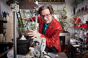 Fred Kahl - The Great Fredini with his Rostock and Printerbot 3d printers in his Brooklyn NY workshop (David Neff/David Neff - davepix.com)