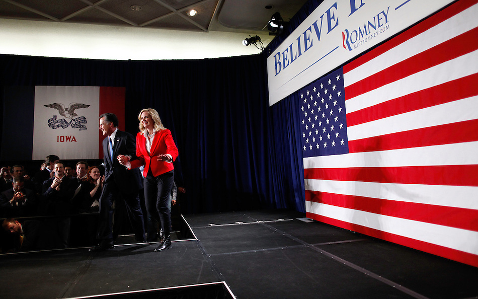 Mitt and Ann Romney arrive to the stage to deliver an Iowa Caucus  victory speech Tuesday night , January 3, 2012 in Des Moines, Iowa.  (Christopher Gannon/GannonVisuals.com/MCT) (Christopher Gannon)