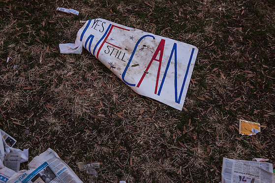 A sign is left on the ground near the U.S. Capitol following the Inauguration of President Barack Obama on Monday, January 21, 2013 in Washington, DC. (Brendan Hoffman/Brendan Hoffman for the New York Times)