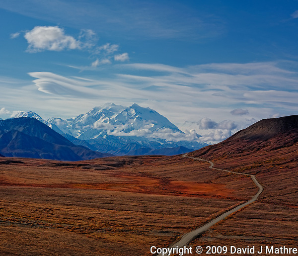 Stony Hill Scenic Overlook. Autumn Panorama of the Highway to Denali, Denali National Park, Alaska. Composite of 3 vertical images taken with a Nikon D3x and 85 mm f/2.8 TC-E lens (ISO 100, 85 mm, f/16, 1/100 sec). (David J Mathre)