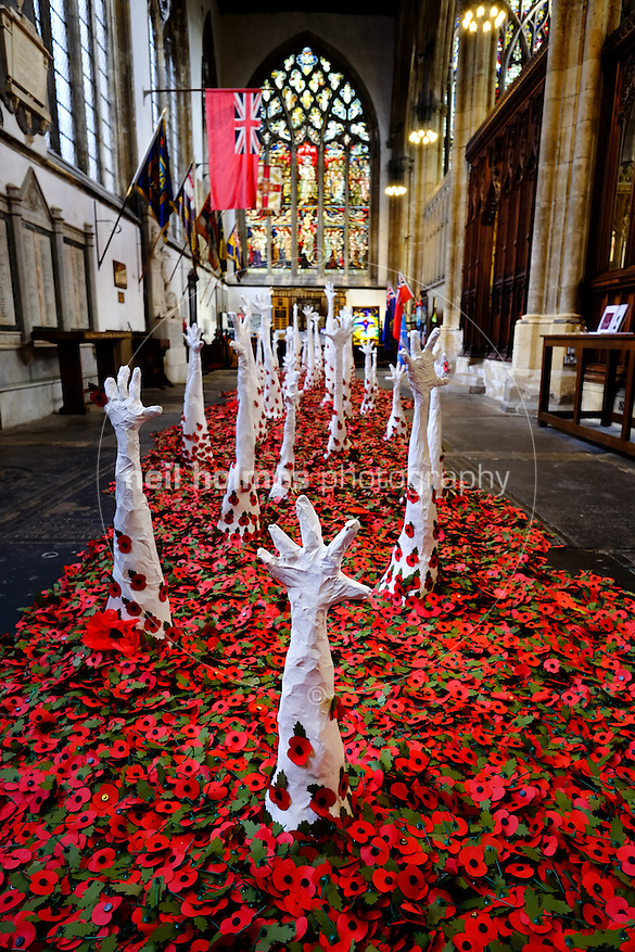 City Centre, Kingston Upon Hull, East Yorkshire, United Kingdom, 10 November, 2015. Pictured: Lost at sea a poppy installation by Martina Waters, Holy Trinity Church (Neil Holmes)