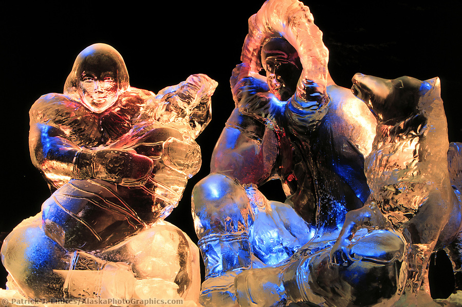 Ice sculpting photos: Northern Exposure, Ice sculpture of Eskimo family carved during the World Ice Art Championships held each march in Fairbanks, Alaska, (Patrick J. Endres / AlaskaPhotoGraphics.com)