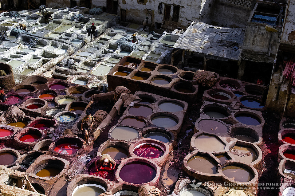 Leather tanning in Fes, a very strong smell rises from the area. The medina in Fes, Fes el Bali, is on UNESCO's World Heritage Site list. (Bjorn Grotting)