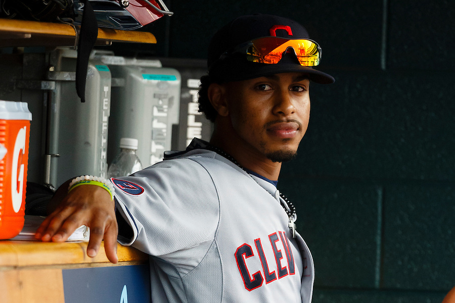 Jun 14, 2015; Detroit, MI, USA; Cleveland Indians short stop Francisco Lindor (12) sits in dugout during the eighth inning against the Detroit Tigers at Comerica Park. Mandatory Credit: Rick Osentoski-USA TODAY Sports (Rick Osentoski/Rick Osentoski-USA TODAY Sports)