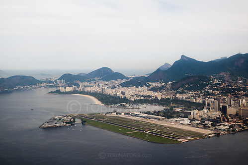 An aerial view of the Santos Dumont airport, Rio de Janeiro. The airport is built on reclaimed land and is a bit like City Airport in London, serving mainly domestic routes and right near the city centre. Photo by Andrew Tobin/Tobinators Ltd (Andrew Tobin/Tobinators)