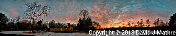 Three-hundred Sixty Degree Panorama of Dawn Winter Clouds and Sky Over New Jersey. Composite of 26 images taken with a Nikon D810a camera and 14-24 mm f/2.8 zoom lens (ISO 200, 24 mm, f/5.6, 1/30 sec). Raw images processed with Capture One Pro, Photoshop CC, and AutoGiga Pan Pro. (David J Mathre)