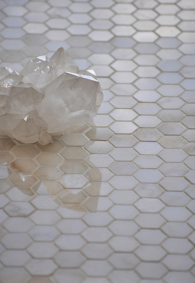 3 cm Hex shown in Cloud Nine polished (New Ravenna Mosaics)