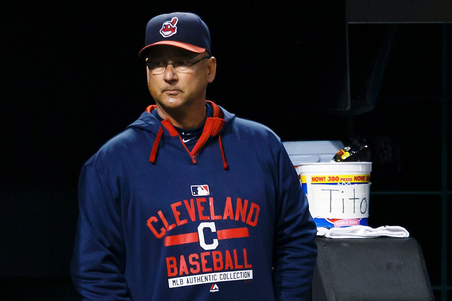 May 1, 2015; Cleveland, OH, USA; Cleveland Indians manager Terry Francona (17) watches from the dugout during the sixth inning against the Toronto Blue Jays at Progressive Field. Mandatory Credit: Rick Osentoski-USA TODAY Sports (Rick Osentoski/Rick Osentoski-USA TODAY Sports)