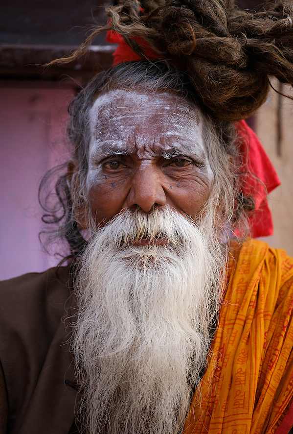 VARANASI, INDIA - CIRCA NOVEMBER 2016: Portrait of a Sadhu in Varanasi. The Sadhus or Holy Man are widely respected in India. Varanasi is the spiritual capital of India, the holiest of the seven sacred cities and with that one the most frequented places for Sadhus. (Daniel Korzeniewski)