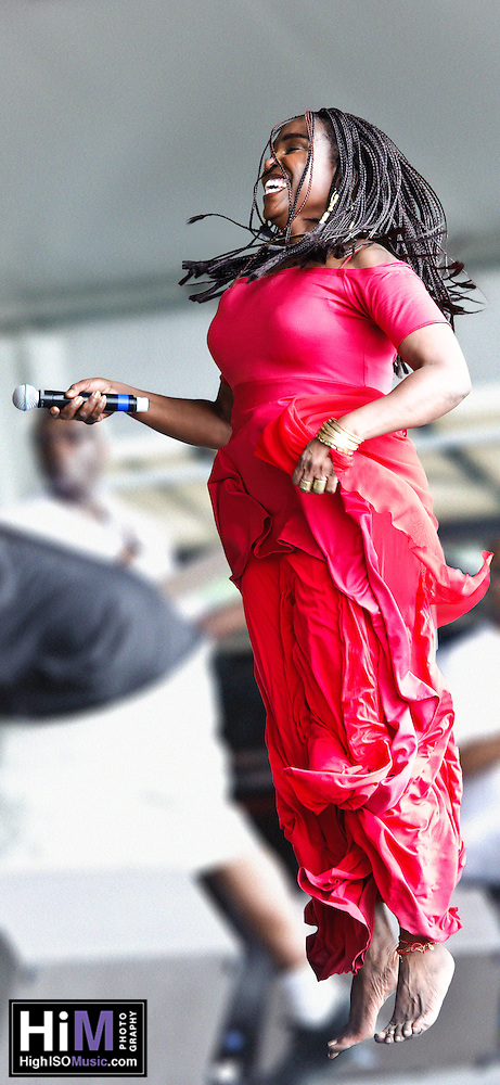 Emeline Michel of Haiti's set at Jazz Fest 2011 in New Orleans, LA on day 2. (Golden G. Richard III)