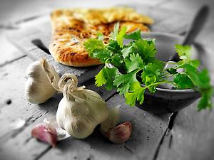 Corriander and Garlic Indian Naan bread (Paul Williams.)