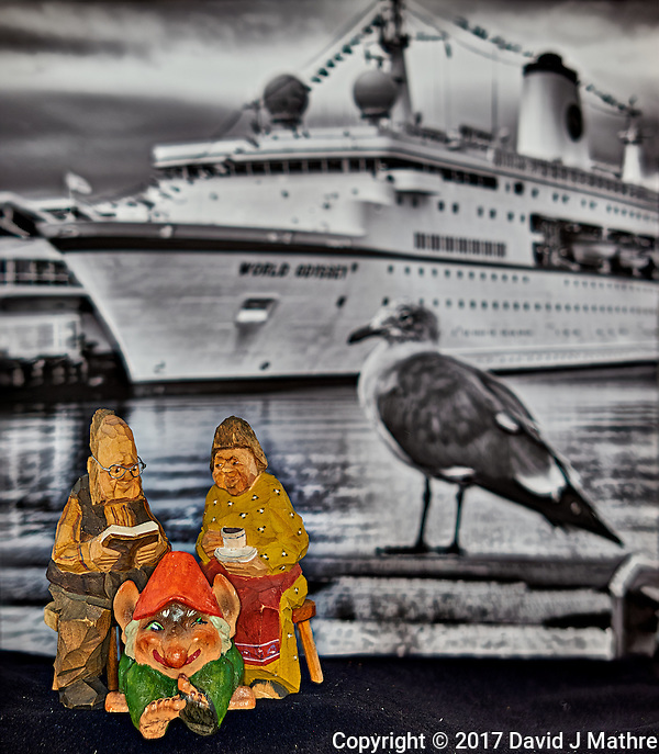 Troll family waiting to board the MV World Odyssey while it was docked at the cruise terminal San Diego, California. Unfortunately, they had to wait a day and take a bus to Ensenada, Mexico before they could board the ship and start the Semester at Sea, 2016 Spring Semester voyage. Composite of nine focus stacked images taken with a Nikon D810a camera and 60 mm f/2.8 macro lens (ISO 200, 60 mm, f/4, 1/25 sec). Helicon Focus used to process the images. (David J Mathre)