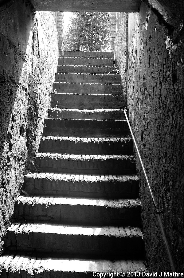 Stairway from the Wine Cellar at Tenuta Lenzini, a Villa and Winery in Tuscany near Lucca, Italy. Image taken with a Leica X2 camera (ISO 400, 24 mm, f/8, 1/80 sec). In camera conversion to B&W. Semester at Sea Spring 2013 Enrichment Voyage. (David J. Mathre)