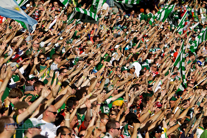 June 1, 2014; Portland, OR, USA; The Timbers Army cheers before the match at Providence Park. Photo: Craig Mitchelldyer-Portland Timbers (Craig Mitchelldyer)