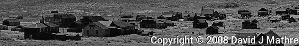 Bodie Panorama. Composite of twenty images taken with a Nikon D300 camera and 200 mm f/2 lens. (David J Mathre)
