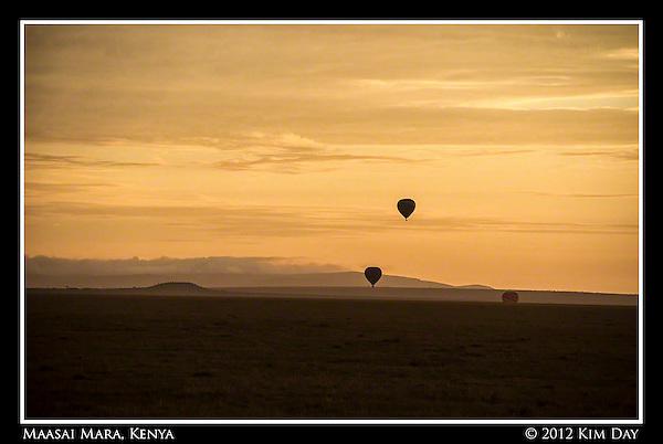 Silhouetted Balloons Against Orange Sunrise.Maasai Mara, Kenya.September 2012 (Kim Day)
