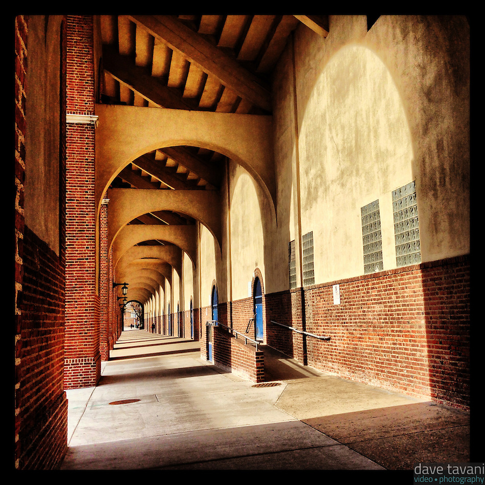 The sun casts shadows under the south stands of Franklin Field on February 25, 2013. (Dave Tavani)