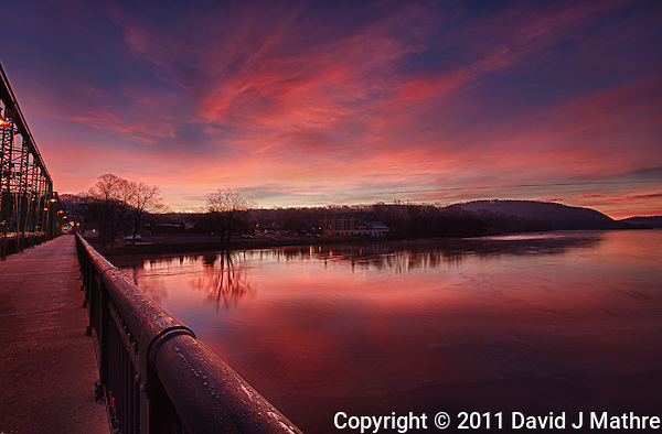 Dawn from the Lambertville - New Hope Bridge over the Delaware River. Image taken with a Nikon D3x and 14-24 mm f/2.8 lens (ISO 100, 14 mm, f/16). HDR composite from 5 images using Nik HDR Efex Pro. (David J. Mathre)