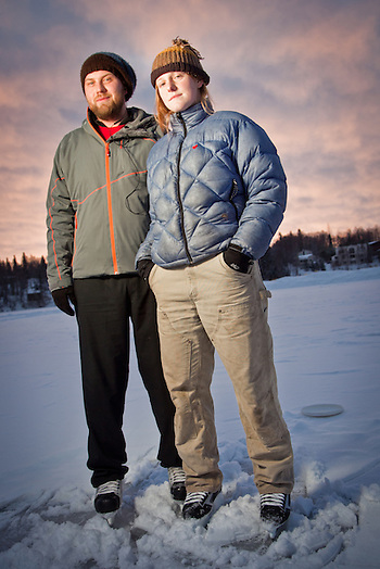 Winter enthusiasts, Michael Barber and Kari Sherman, Westchester Lagoon, Anchorage (Clark James Mishler)