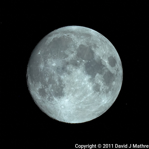 Nearly Full Moon. Image taken with Nikon D3s and Questar 3.5 inch telescope (ISO 1600, ~1500 mm, f/16, 1/1000 sec). Raw image processed with Capture One Pro and Photoshop CS5 (David J. Mathre)