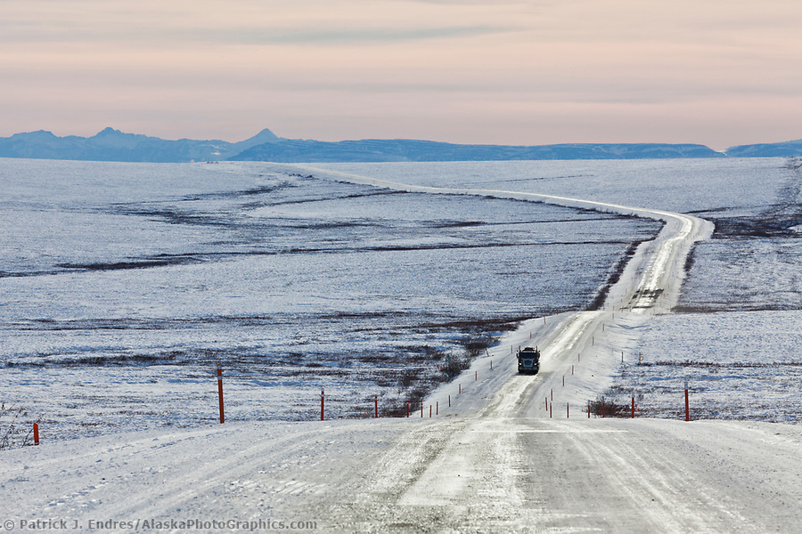 Dalton Highway photos: Trucker travels the icy James Dalton Highway, the Haul road, in winter conditions. (Patrick J. Endres / AlaskaPhotoGraphics.com)
