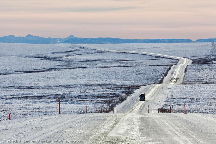 Dalton Highway photos: Trucker travels the icy James Dalton Highway, the Haul road, in winter conditions. (Patrick J. Endres / AlaskaPhotoGraphics.com)