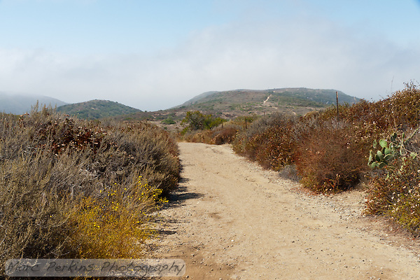 Looking back towards the ocean from Crystal Cove State Park's Lower Moro Campground, this shows the trail hiking along the ridgeline of the hills. (Marc C. Perkins)