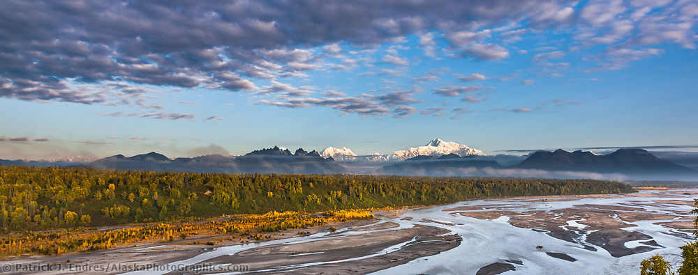 Southside view of Denali and the Chulitna river, North America's tallest peak at approximately 20,237 ft. (6,168m), Alaska. (Patrick J. Endres / AlaskaPhotoGraphics.com)