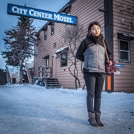 "Justina Apatiki, originally from the village of Gamble, now living in Anchorage at the City Center Motel and a student at the Anchorage Literacy Project.  ""I love Anchorage, particularly the music, and I see myself staying here.""  justapainatiki@yahoo.com (Clark James Mishler)"
