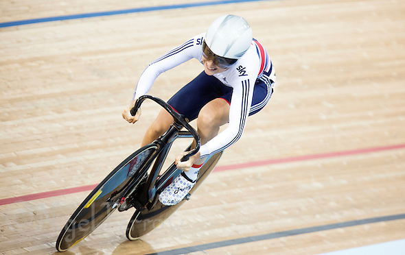 07 DEC 2014 - STRATFORD, LONDON, GBR - Laura Trott (GBR) racing for Great Britain powers around the track during the women's Omnium Flying Lap round at the 2014 UCI Track Cycling World Cup at the Lee Valley Velo Park in Stratford, London, Great Britain (PHOTO COPYRIGHT © 2014 NIGEL FARROW, ALL RIGHTS RESERVED) (NIGEL FARROW/COPYRIGHT © 2014 NIGEL FARROW : www.nigelfarrow.com)