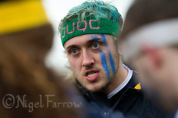 08 MAR 2015 - NOTTINGHAM, GBR - Radcliffe Chimeras' captain Luke Twist holds a team talk ahead of their 2015 British Quidditch Cup quarter final match against Nottingham Nightmares at Woollaton Hall and Deer Park in Nottingham, Great Britain  (PHOTO COPYRIGHT © 2015 NIGEL FARROW, ALL RIGHTS RESERVED) (NIGEL FARROW/COPYRIGHT © 2015 NIGEL FARROW : www.nigelfarrow.com)