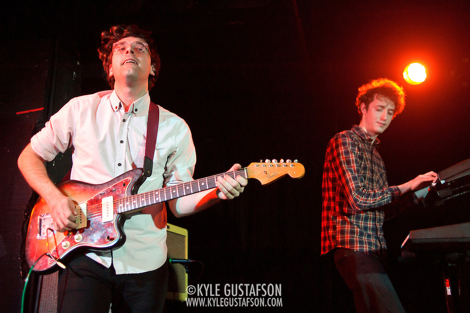 WASHINGTON, DC - January 22nd, 2012 - Guitarist Matthew Mondanile and keyboardist Jonah Maurer of Real Estate perform at the Black Cat in Washington, D.C. The band received critical acclaim for their sophomore album, Days, released in October 2011. (Photo by Kyle Gustafson/For The Washington Post) (Kyle Gustafson/FTWP)