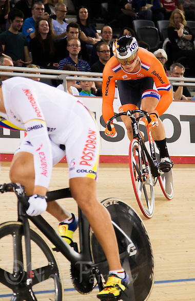 07 DEC 2014 - STRATFORD, LONDON, GBR - Jeffrey Hoogland (NED) (right) from the Netherlands attempts to draft off opponent Fabian Hernando Puerta Zapata (COL) (left) from Colombia during the second round of the Men's Individual Sprint final at the 2014 UCI Track Cycling World Cup in the Lee Valley Velo Park in Stratford, London, Great Britain (PHOTO COPYRIGHT © 2014 NIGEL FARROW, ALL RIGHTS RESERVED) (NIGEL FARROW/COPYRIGHT © 2014 NIGEL FARROW : www.nigelfarrow.com)