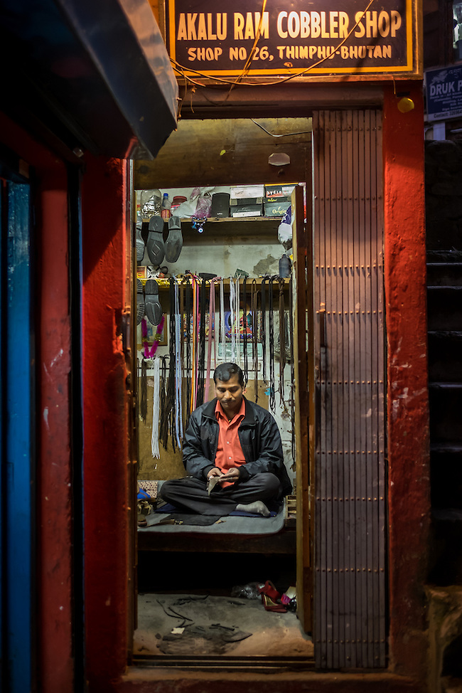 THIMPHU, BHUTAN - CIRCA OCTOBER 2014: Cobbler shop in Thimpu, Bhutan (Daniel Korzeniewski)