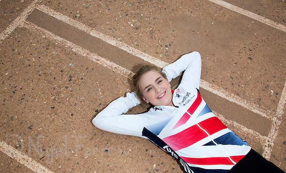 26 MAY 2015 - IPSWICH, GBR - Charlie-Jane Herbert of Ipswich Cycle Speedway Club, the British 2014 Individual Women's Cycle Speedway champion, at the club's track at Whitton Sports and Community Centre in Ipswich, Suffolk, Great Britain. Herbert moved to Ipswich from Exeter at the beginning of the year to be with Hill who she met through the sport (PHOTO COPYRIGHT © 2015 NIGEL FARROW, ALL RIGHTS RESERVED) (NIGEL FARROW/COPYRIGHT © 2015 NIGEL FARROW : www.nigelfarrow.com)